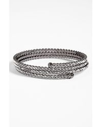Cara | Gray Accessories Crystal Coil Bracelet | Lyst