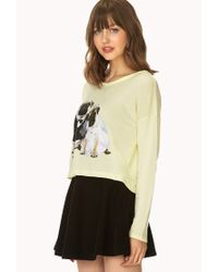 Forever 21 - Yellow Quirky Pug Hooded Top - Lyst