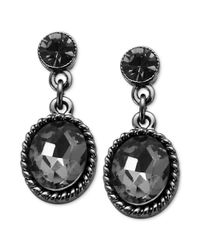 Guess | Hematitetone Black Diamond Stone Drop Earrings | Lyst