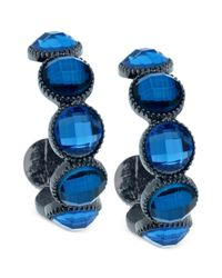 Guess | Blue Glass Stone Hoop Earrings | Lyst