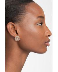 Kate Spade | Pink Disco Pansy Pavé Flower Clip Earrings | Lyst