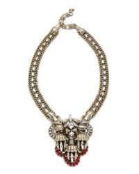 Lee Angel - Metallic Crest Pendant Statement Necklace - Lyst