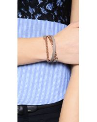 Marc By Marc Jacobs - Brown Triple Wrap Leather Chain Bracelet - Lyst