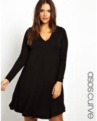 ASOS | Black Swing Dress with Deep V Neck in Longer Length | Lyst