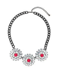 TOPSHOP - Pink and Rhinestone Flower Necklace - Lyst