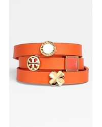 Tory Burch | Multicolor Sliding Charms Leather Wrap Bracelet | Lyst