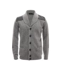 Alexander McQueen - Gray Patched Aran Knit Cardigan for Men - Lyst