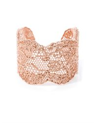 Aurelie Bidermann - Metallic Rose Gold-plated Lace Cuff - Lyst