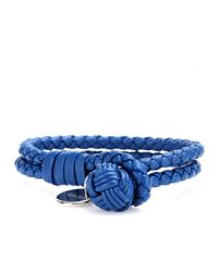 Bottega Veneta | Blue Knot Woven Leather Bracelet | Lyst