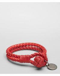 Bottega Veneta - Fraise New Red Intrecciato Nappa Bracelet - Lyst