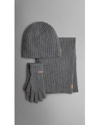 Burberry Cashmere Ribbed Knit Hat Gloves and Scarf Set in Gray for ... 3847ca97e67d
