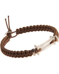 Catherine Zadeh - Metallic Macrame Cord Bracelet with Silver Bar Bead - Lyst