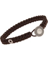 Zadeh - Brown Macrame Cord Bracelet with Silver Element for Men - Lyst