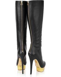 Charlotte Olympia - Black Bonnie Leather Platform Knee Boots - Lyst