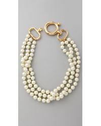 Fallon | Metallic Large 3 Strand Pearl Necklace | Lyst