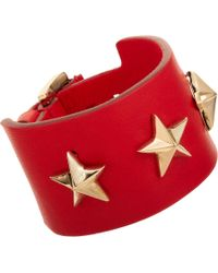 Givenchy - Red Triple Star Small Leather Cuff Bracelet for Men - Lyst