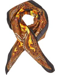 Givenchy - Orange Flame Paisley Print Square Scarf for Men - Lyst