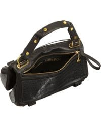 Golden Lane - Black Crocstamped Small Duo Satchel - Lyst