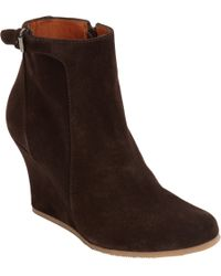 Lanvin - Brown Suede Wedge Ankle Boot - Lyst