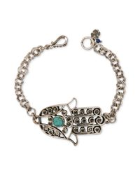 Lucky Brand - Metallic Silvertone Turquoise Hamsa Chain Bracelet - Lyst