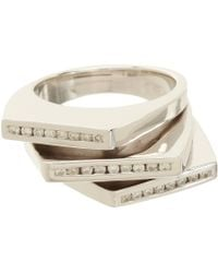 Lynn Ban - Metallic Diamond Stacked Deck Ring - Lyst
