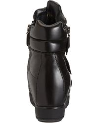 Prada - Black Triple Strap Wedge Sneaker - Lyst