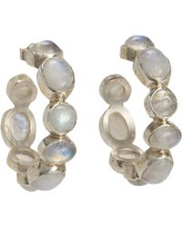 Sandra Dini | Metallic Moonstone Hoop Earrings | Lyst