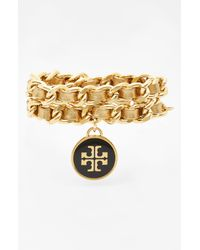 Tory Burch | Metallic Leather Woven Chain Wrap Bracelet | Lyst