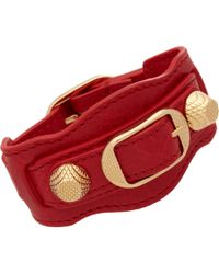 Balenciaga - Red Arena Giant Gold Bracelet - Lyst