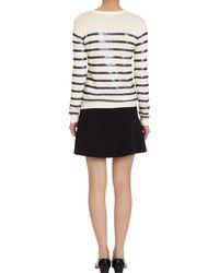 Barneys New York - White Sequin Striped Crewneck Sweater - Lyst