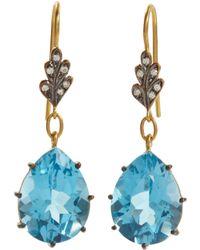 Cathy Waterman | Diamond Leaf Top Swiss Blue Topaz Earrings | Lyst