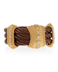 Charriol - Brown Threestation Diamond Cable Ring Size 65 - Lyst