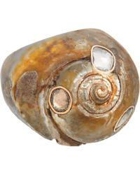 Dezso by Sara Beltran   Brown Polki Diamond Fossil Shell Ring   Lyst