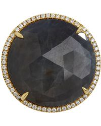 Eva Fehren - Metallic Diamond Opaque Sapphire Round Cocktail Ring - Lyst