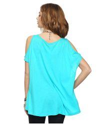 Forever 21 - Blue Highlow Cutout Shoulder Top - Lyst