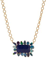 Irene Neuwirth - Blue Boulder Opal Lapis Rectangular Pendant Necklace - Lyst