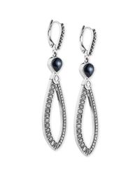 Judith Jack | Blue Silver-Tone And Crystal Hammered Hoop Earrings | Lyst