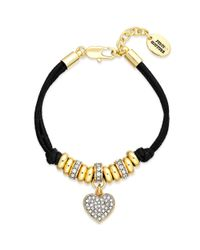 Juicy Couture | Metallic Goldtone Pave Heart Black Corded Bracelet | Lyst