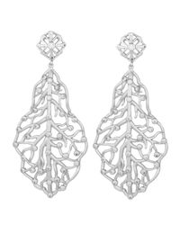 Kendra Scott - White Pave Cz Branch Hourglass Earrings - Lyst