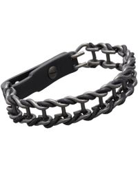 Lanvin | Black Gunmetal Leather Chain Bracelet | Lyst