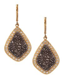Marcia Moran | Metallic Diamondshape Druzy Earrings | Lyst