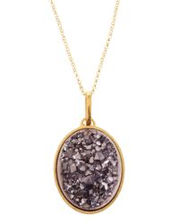 Marcia Moran - Metallic Gray Druzy Oval Pendant Necklace - Lyst