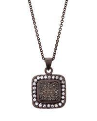 Marcia Moran | Gray Square Druzy Pendant Necklace Gunmetal | Lyst