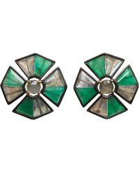 Nak Armstrong | Green Emerald Labradorite Sapphire Button Pleat Earrings | Lyst
