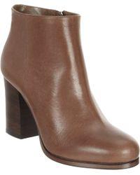 Prada | Brown Block Heel Ankle Boot | Lyst