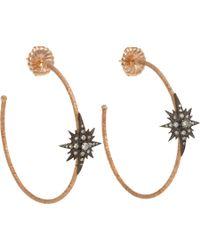 Sara Weinstock | Metallic Diamond Rose Gold Starburst Hoop Earrings | Lyst