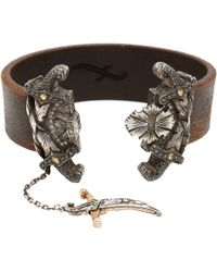 Sevan Biçakci | Brown Leather Bracelet with Diamond Dagger Closure | Lyst
