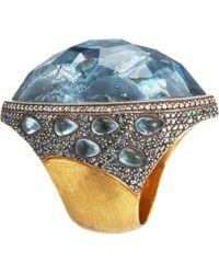 Sevan Biçakci - Yellow Dolphin Carved Blue Topaz Ring - Lyst