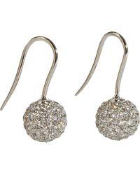Shamballa Jewels - Metallic Pave Diamond White Gold Ball Drop Earrings - Lyst
