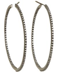 Sidney Garber | Diamond Black Gold Medium Perfect Round Hoop Earrings | Lyst